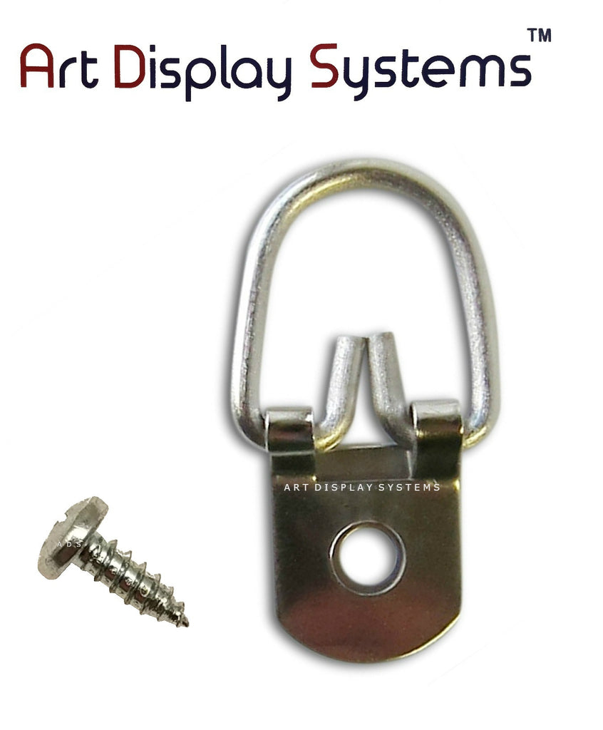 Art Display Systems 1 Hole Heavy Duty ZP D-Ring Hanger with 6 3/8 Screws – Pro Quality – 100 Pack - ART DISPLAY SYSTEMS