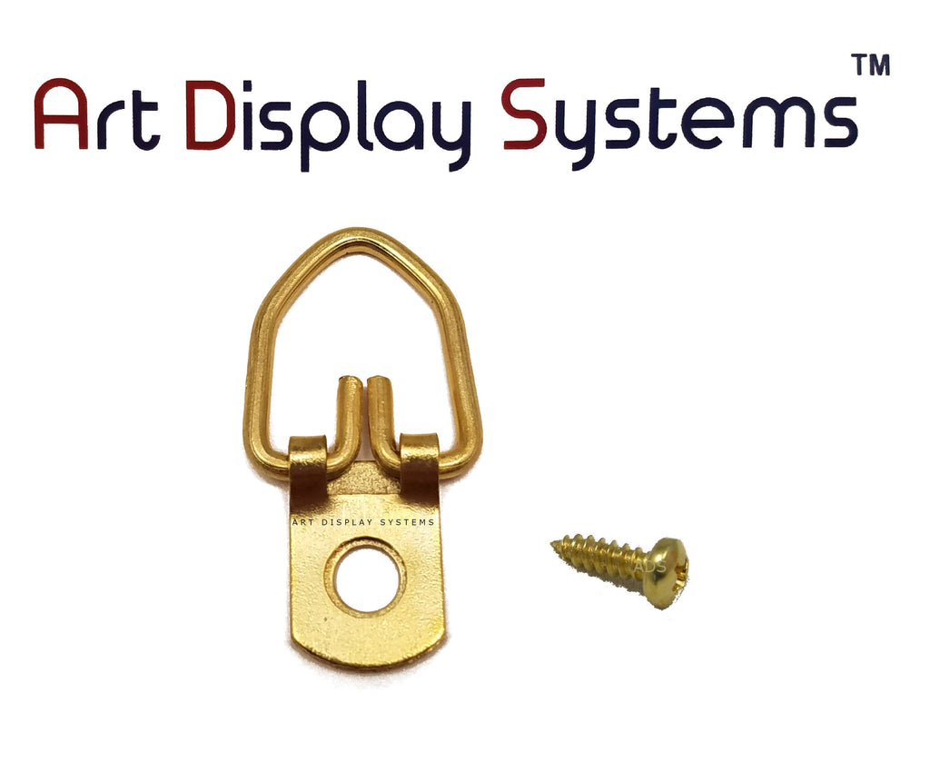 Art Display Systems 1 Hole Narrow BP D-Ring Hanger with 4 3/8 Screws – Pro Quality – 100 Pack - ART DISPLAY SYSTEMS