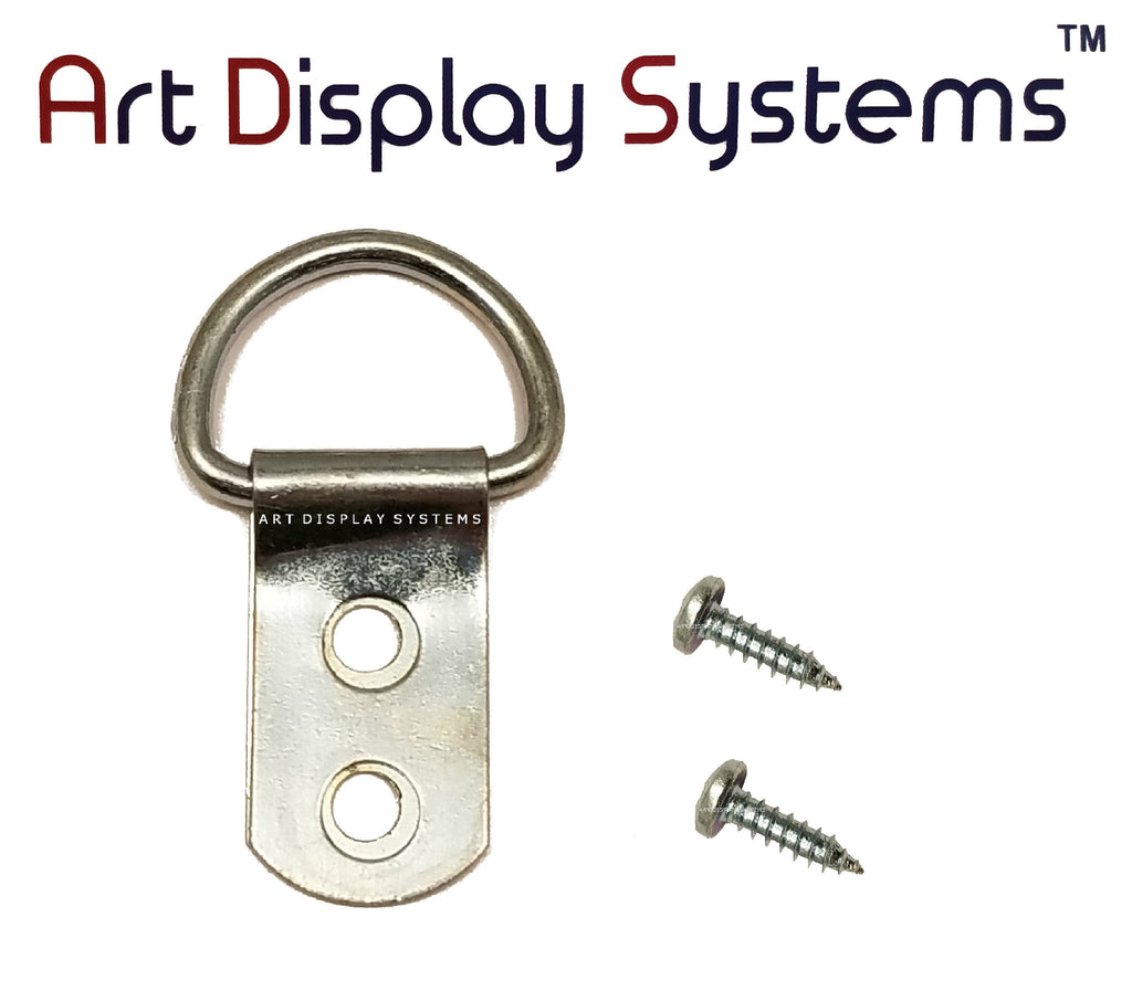 ADS 2 Hole Heavy Duty ZP D-Ring Hanger with 6 1/2 Screws – 50 Pack - ART DISPLAY SYSTEMS