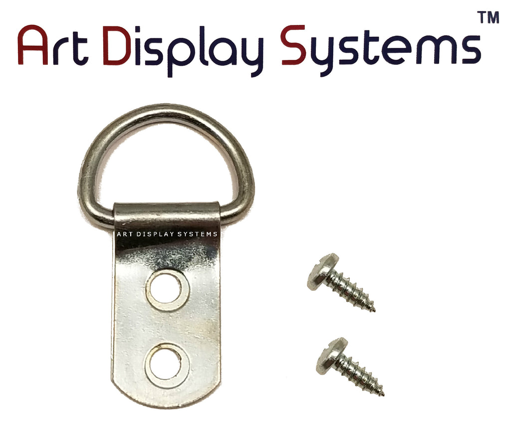 ADS 2 Hole Heavy Duty ZP D-Ring Hanger with 6 3/8 Screws – 50 Pack - ART DISPLAY SYSTEMS