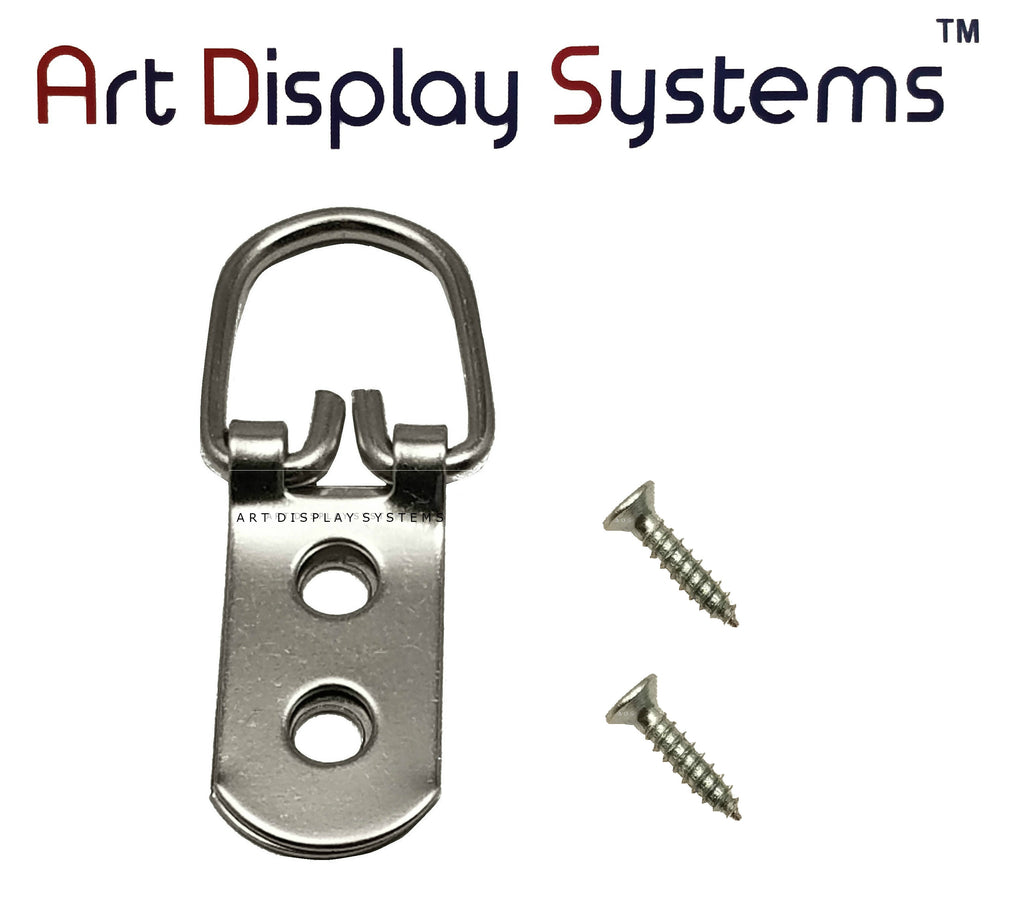 ADS 2 Hole Heavy Duty ZP D-Ring Hanger with 4 1/2 Screws – Pro Quality – 50 Pack - ART DISPLAY SYSTEMS