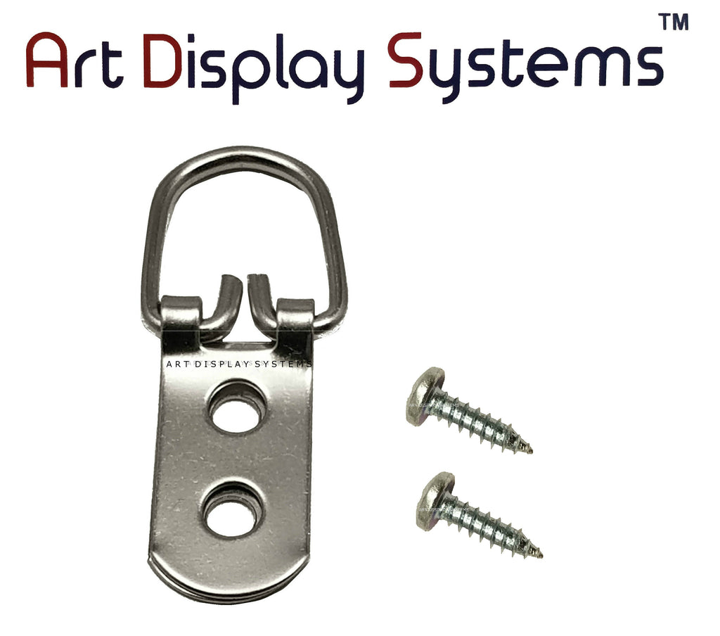 ADS 2 Hole Heavy Duty ZP D-Ring Hanger with 6 1/2 Screws – Pro Quality – 50 Pack - ART DISPLAY SYSTEMS