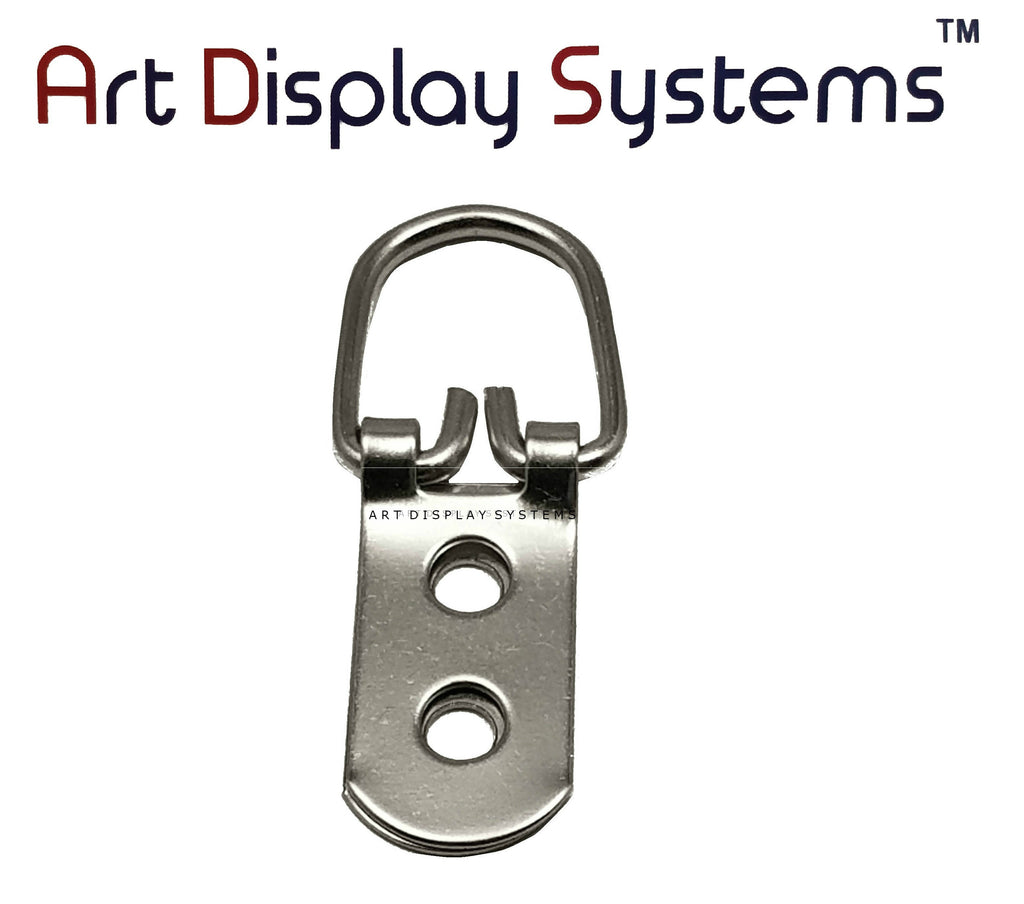 ADS 2 Hole Heavy Duty ZP D-Ring Hanger – No Screws – Pro Quality – 50 Pack - ART DISPLAY SYSTEMS