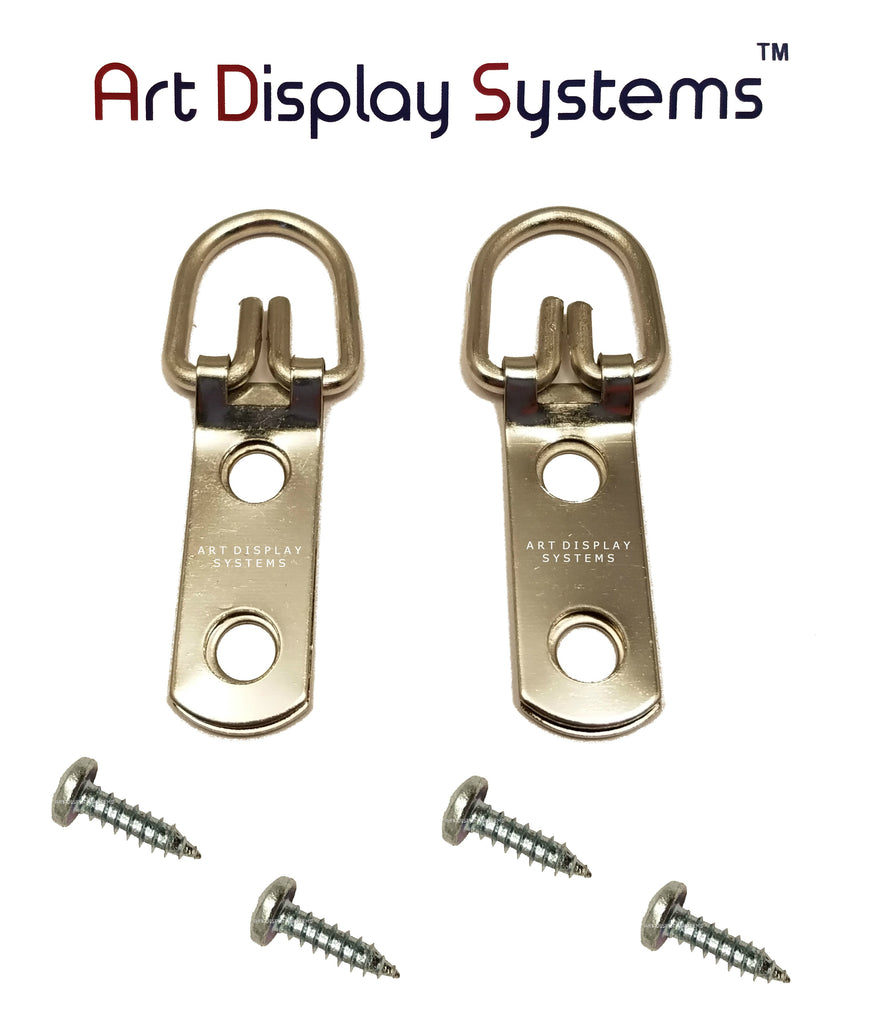 ADS 2 Hole Narrow ZP D-Ring Hanger with 6 1/2 Screws – Pro Quality – 100 Pack - ART DISPLAY SYSTEMS