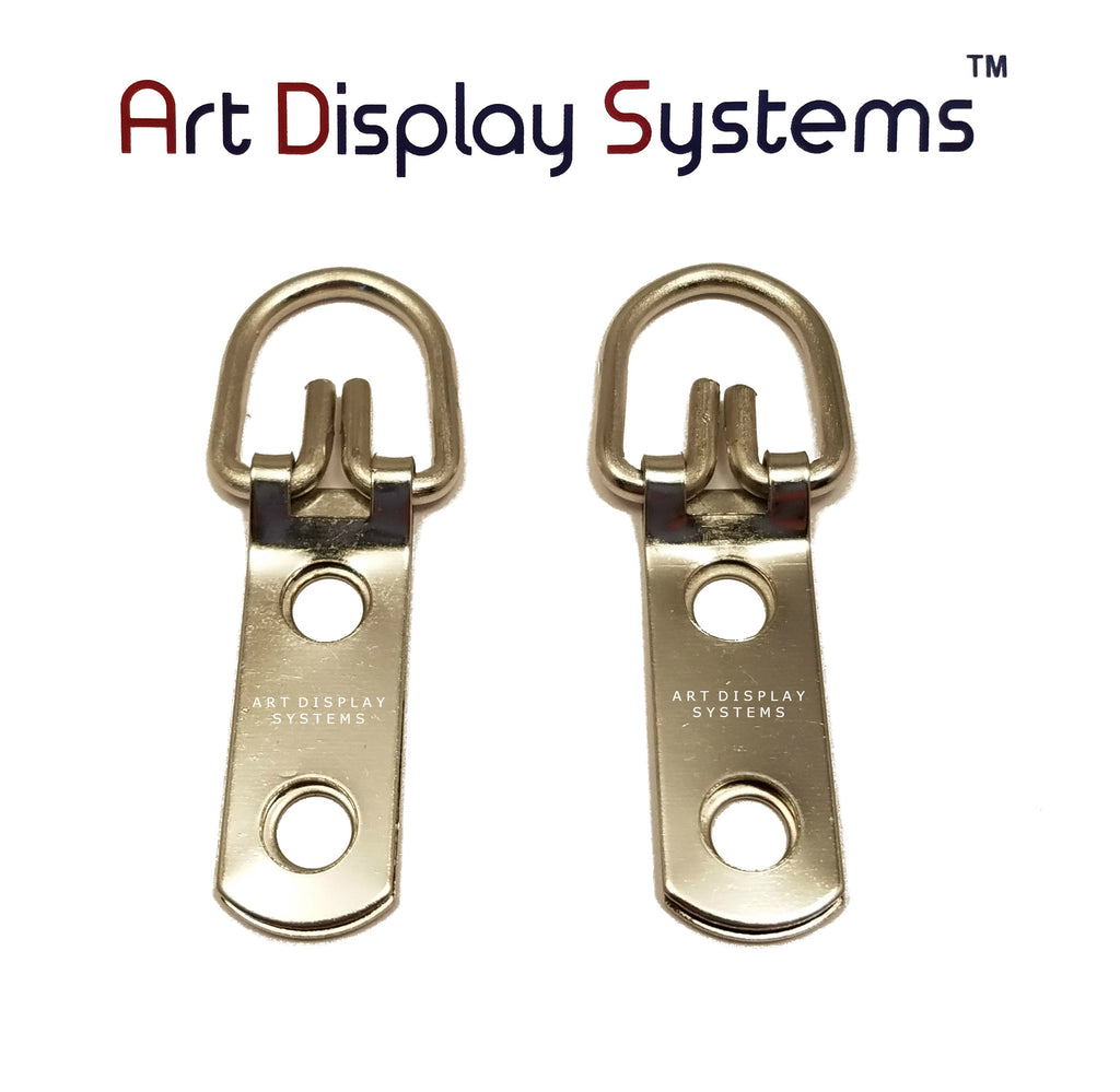 ADS 2 Hole Narrow ZP D-Ring Hanger – No Screws – Pro Quality – 100 Pack - ART DISPLAY SYSTEMS