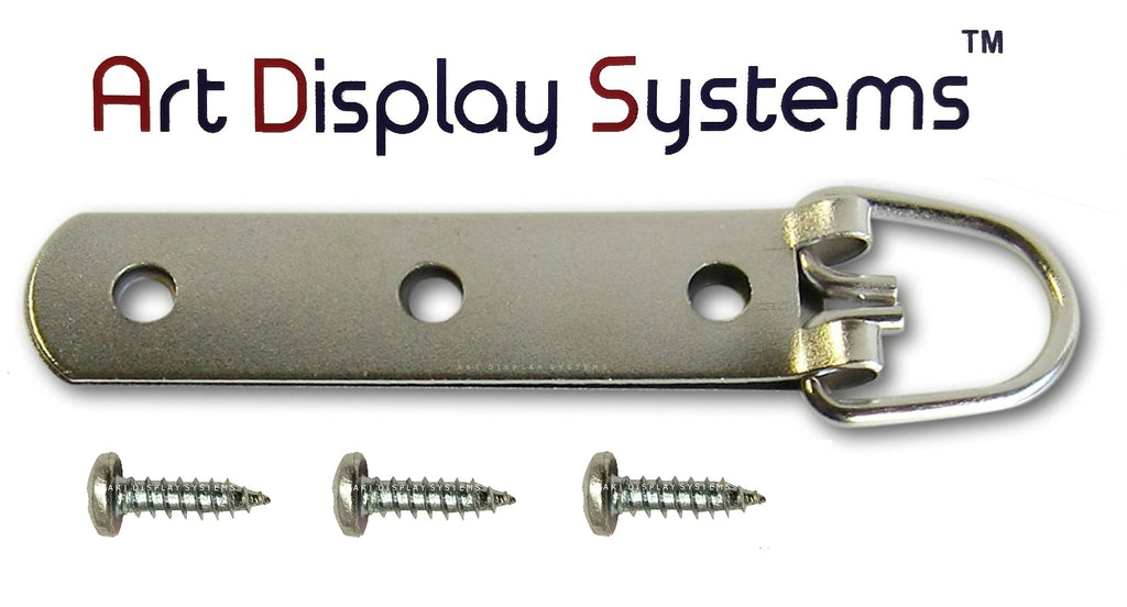 "3-Hole Heavy Duty Large D-Ring Hanger with #6-1/2"" Screws - ART DISPLAY SYSTEMS"