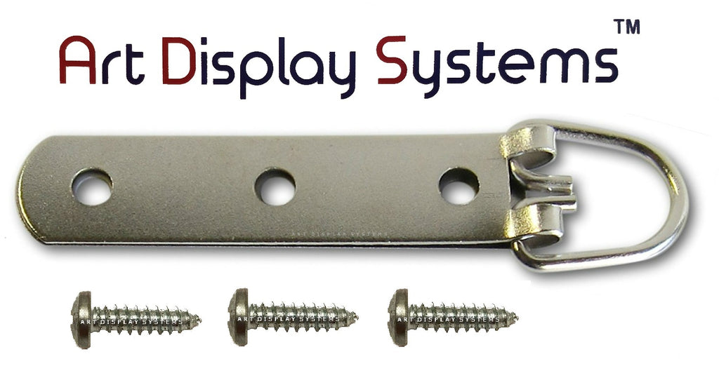 "3-Hole Heavy Duty Large D-Ring Hanger with #8-1/2"" Screws - ART DISPLAY SYSTEMS"