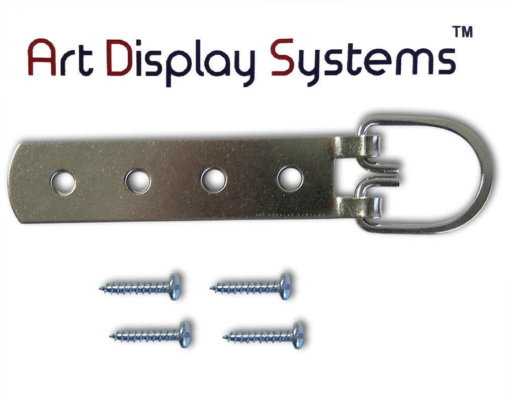 ADS Super Heavy Duty Extra Large Strap Hanger - 4 Hole Zinc Plated D-Ring Hanger - 2 Pack - ART DISPLAY SYSTEMS