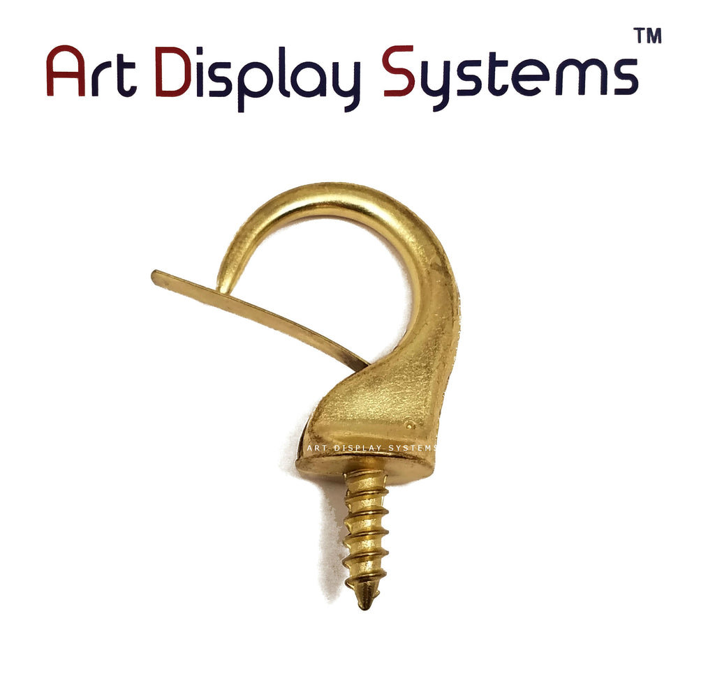 ADS Large Brass Security Cup Hook – Pro Quality – 15 Pack - ART DISPLAY SYSTEMS