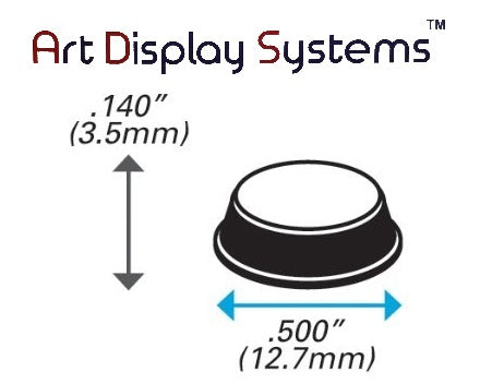 Art Display Systems White Cylindrical (0.5 x 0.14) Self-Adhesive Protective Non-Skid Bumpers – Pro Quality - ART DISPLAY SYSTEMS