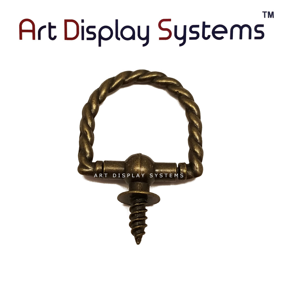 ADS Large Antique Brass Braided Decorative Hanger – Pro Quality – 5 Pack - ART DISPLAY SYSTEMS