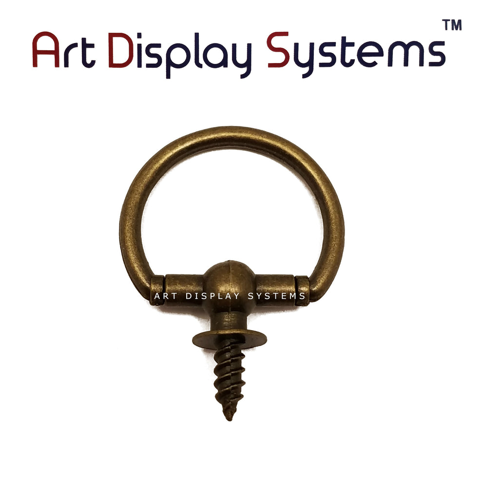 ADS Large Antique Brass Oval Decorative Hanger – Pro Quality – 5 Pack - ART DISPLAY SYSTEMS