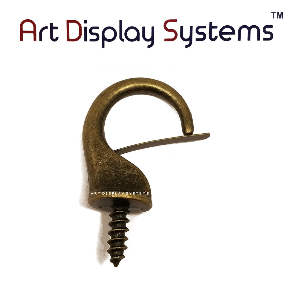 ADS Large Antique Brass Security Cup Hook – Pro Quality – 10 Pack - ART DISPLAY SYSTEMS