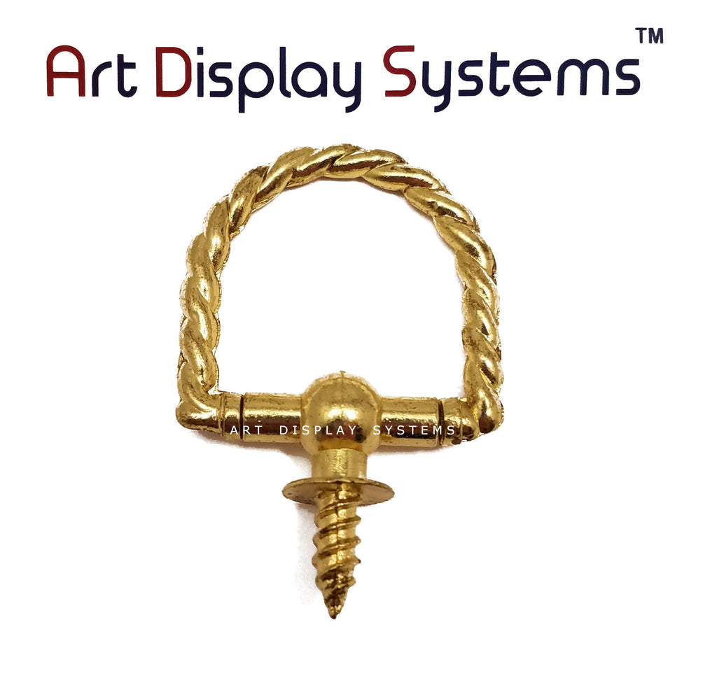 ADS Large Brass Braided Decorative Hanger – Pro Quality – 5 Pack - ART DISPLAY SYSTEMS