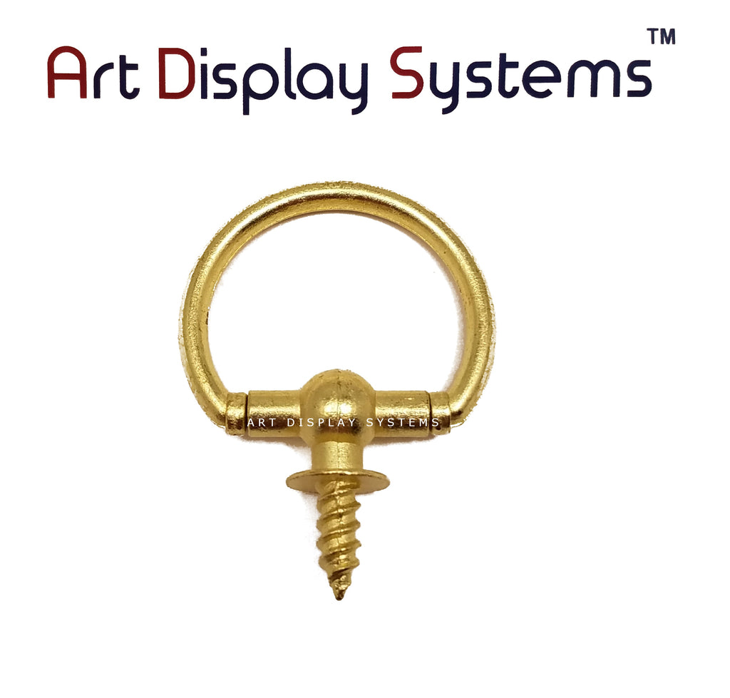 ADS Large Brass Oval Decorative Hanger – Pro Quality – 5 Pack - ART DISPLAY SYSTEMS