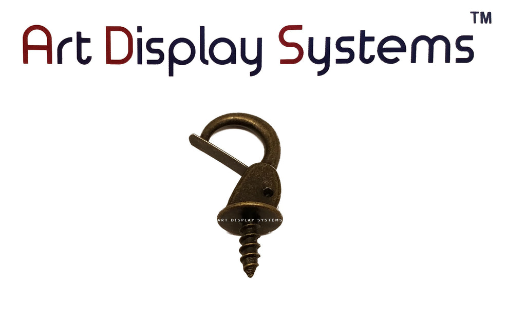 ADS Medium Antique Brass Security Cup Hook – Pro Quality – 15 Pack - ART DISPLAY SYSTEMS