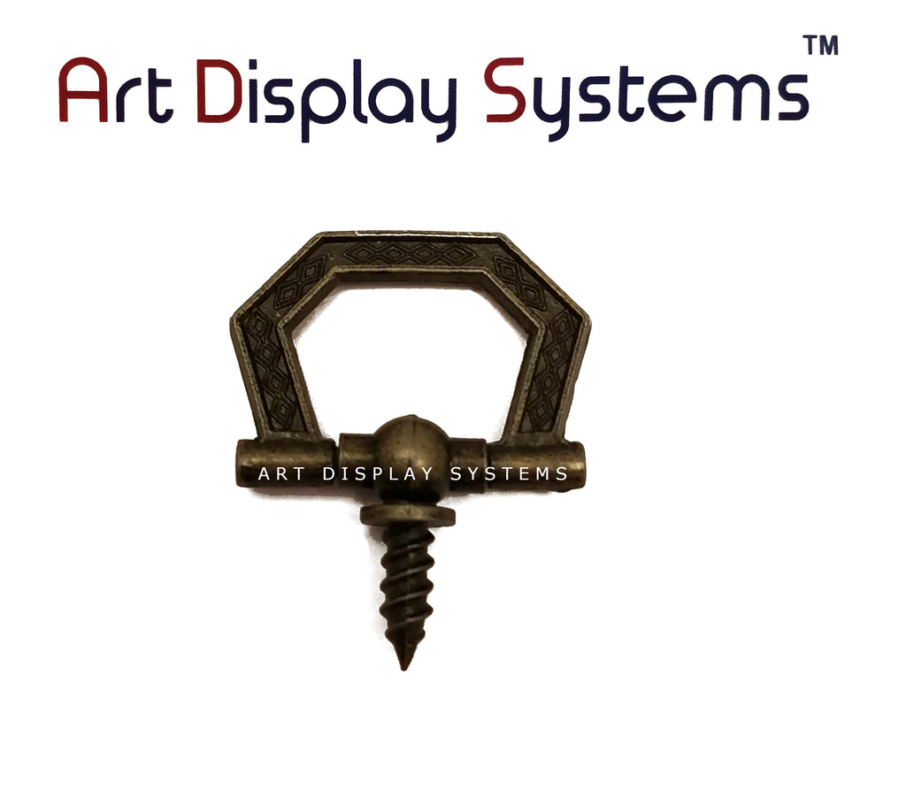 ADS Small Antique Brass Hexagonal Decorative Hanger – Pro Quality – 15 Pack - ART DISPLAY SYSTEMS