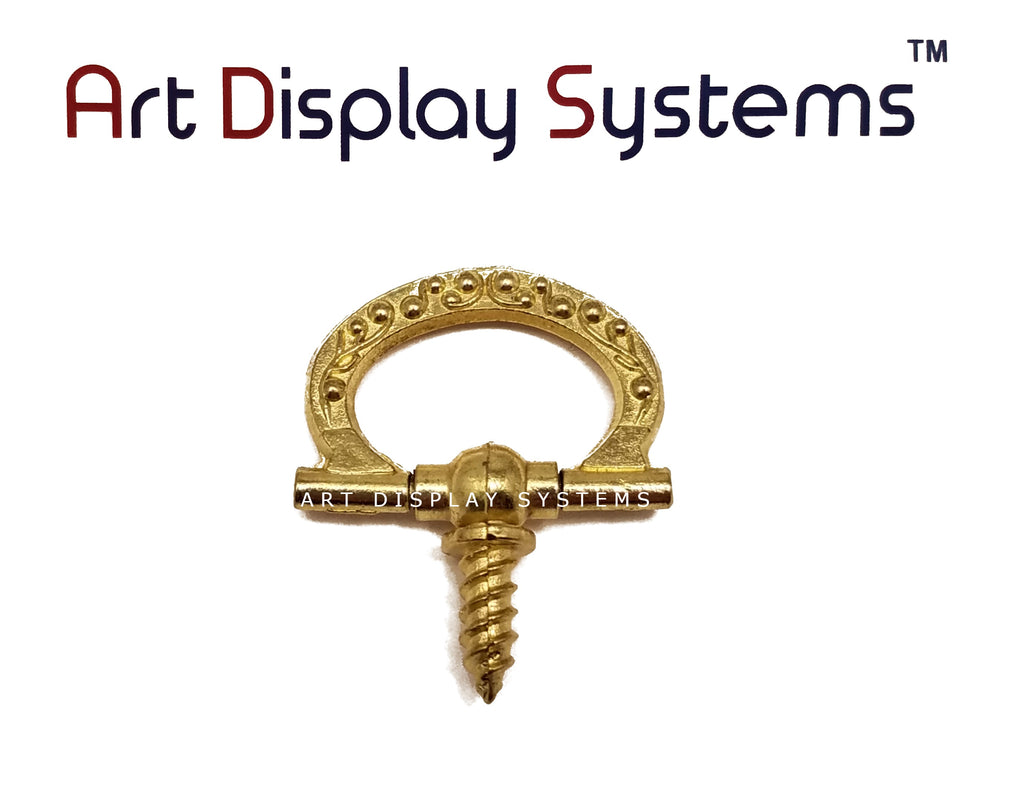 ADS Small Brass Floral Decorative Hanger – Pro Quality – 5 Pack - ART DISPLAY SYSTEMS