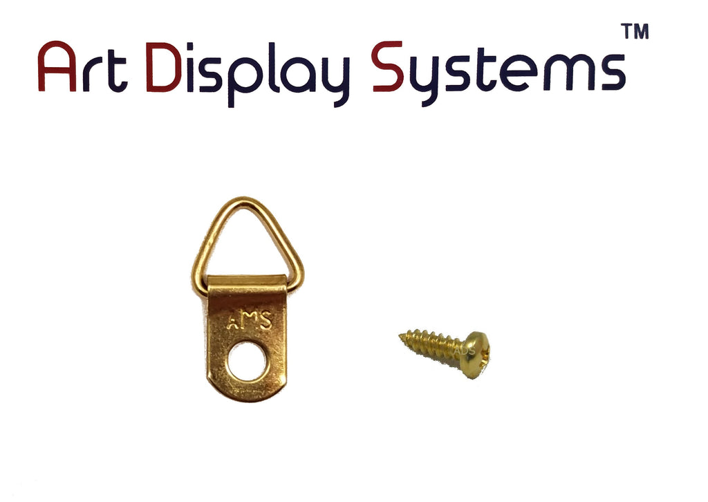 AMS 1 Hole Triangle BP D-Ring Hanger with 4 3/8 Screws – 100 Pack by Art Display Systems - ART DISPLAY SYSTEMS