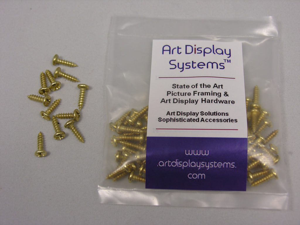 "ADS #6-1/2"" Brass Plated Screws - ART DISPLAY SYSTEMS"