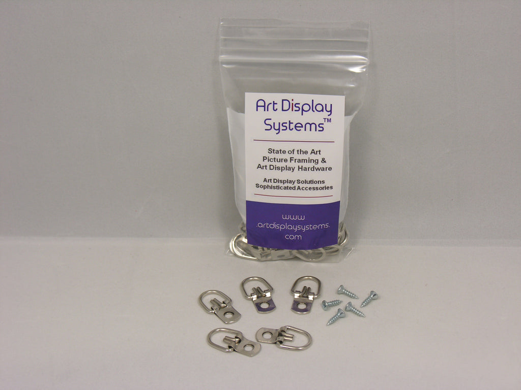 "D-Ring Picture Hanger with #4-1/2"" Screws - ART DISPLAY SYSTEMS"