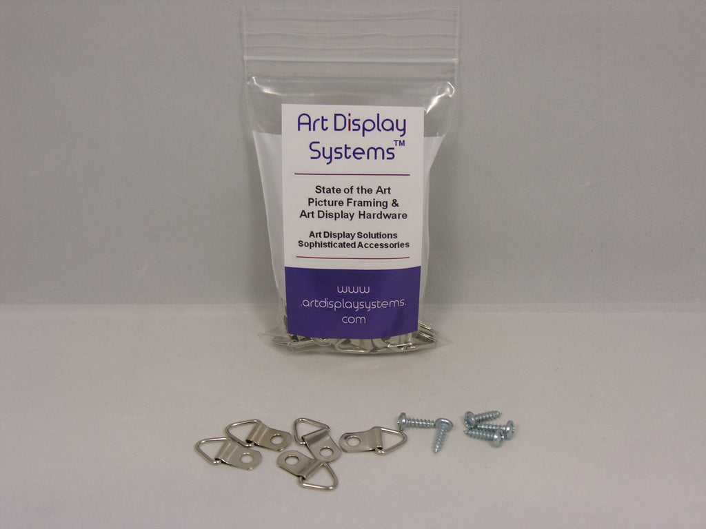 "Triangle D-Ring Strap Hangers with #6-1/2"" Screws - ART DISPLAY SYSTEMS"
