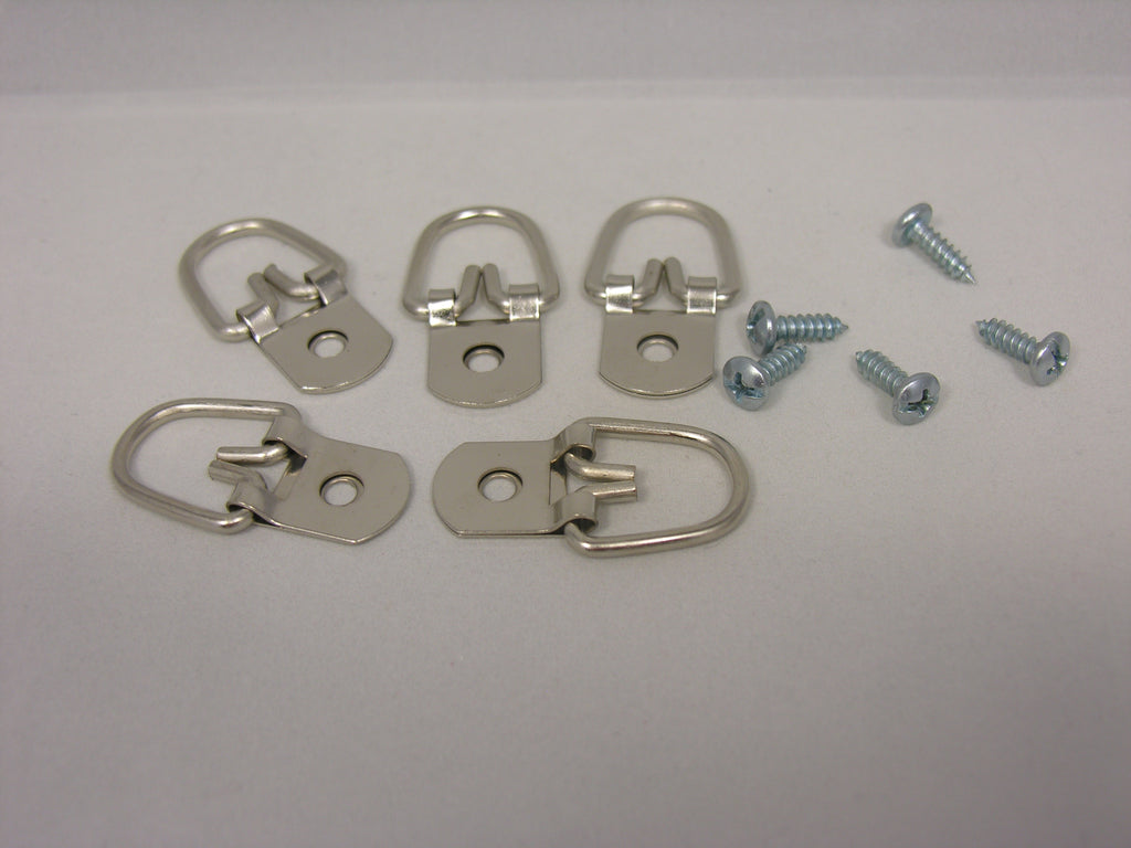 "Heavy Duty D-Ring Picture Hangers with #8-1/2"" Screws - ART DISPLAY SYSTEMS"