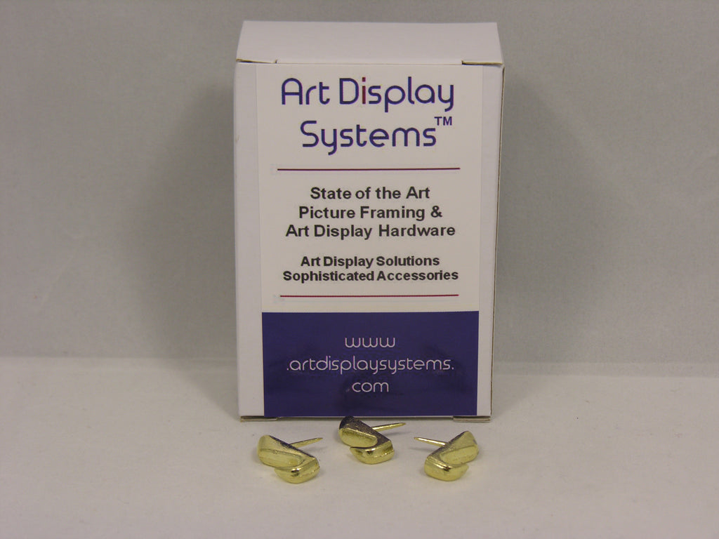 Brass Plated 10 LB Push Pin Hangers - ART DISPLAY SYSTEMS