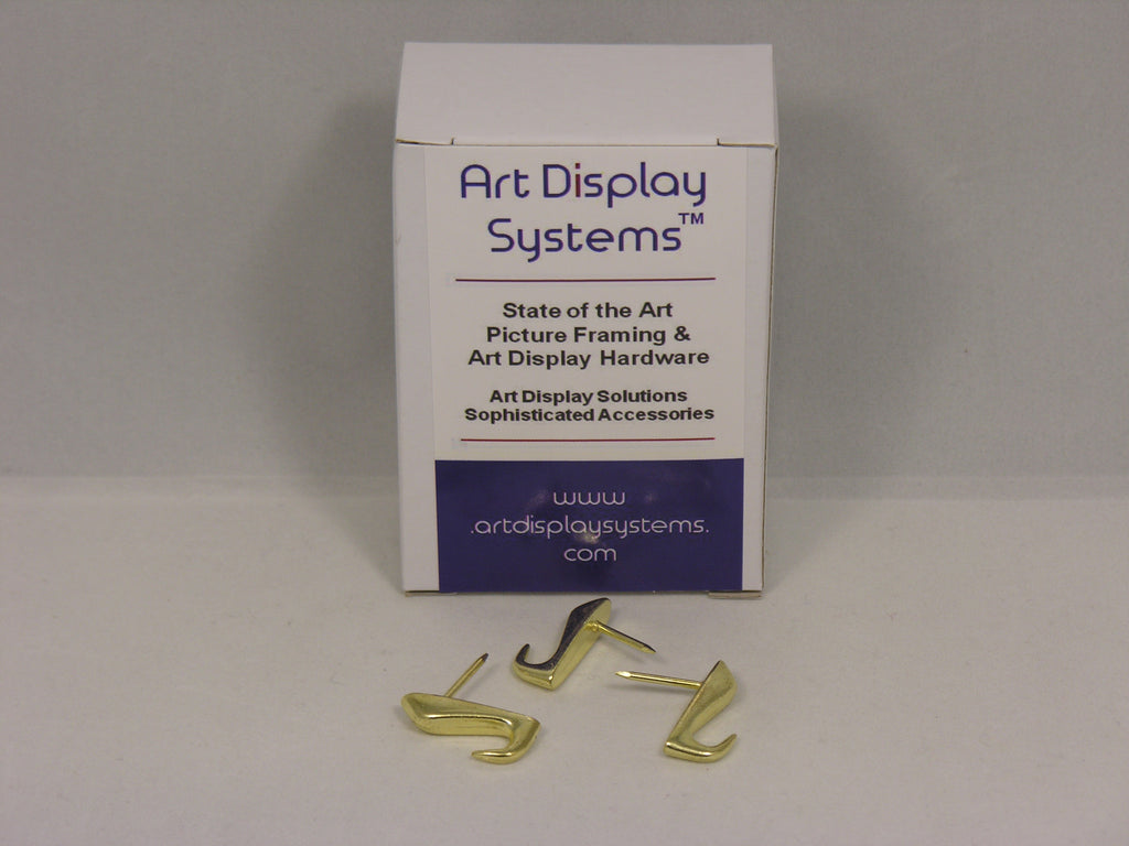 Brass Plated 20 LB Push Pin Hangers - ART DISPLAY SYSTEMS