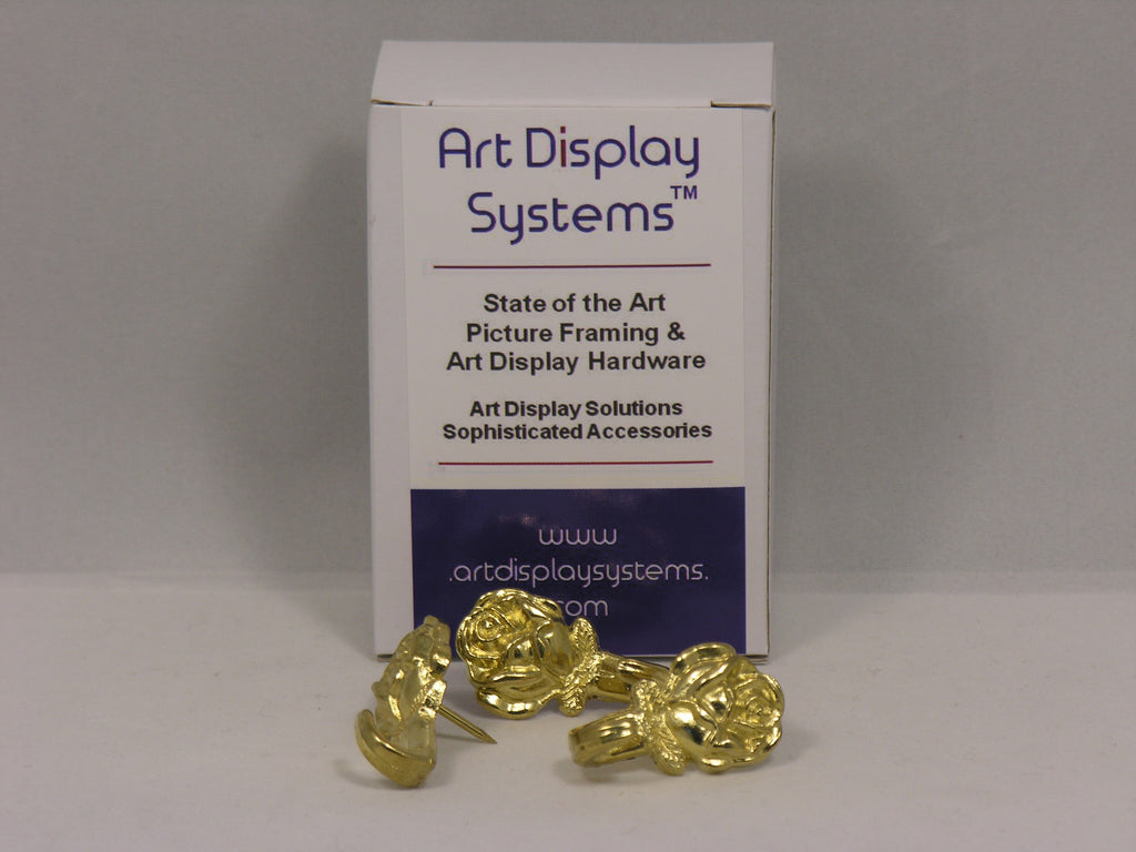 Brass Plated Rose Push Pin Hangers - ART DISPLAY SYSTEMS