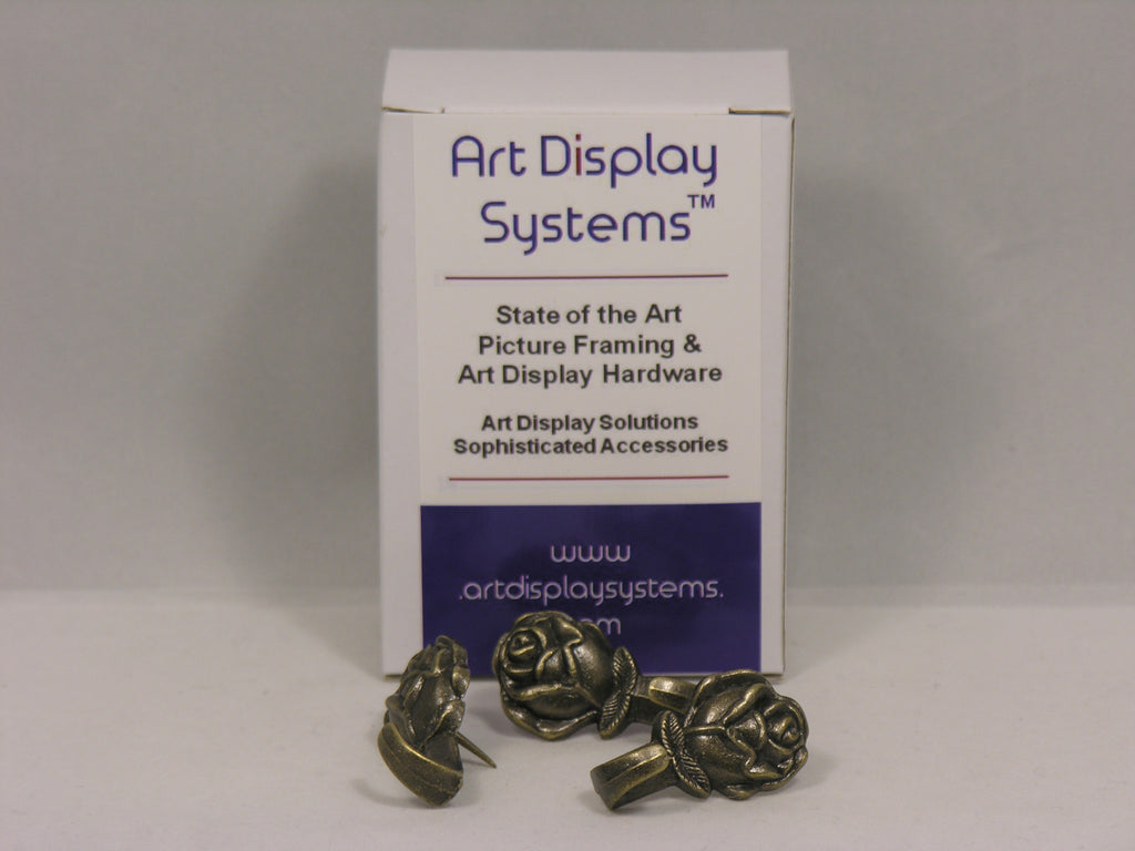 Antique Brass Plated Rose Push Pin Hangers - ART DISPLAY SYSTEMS