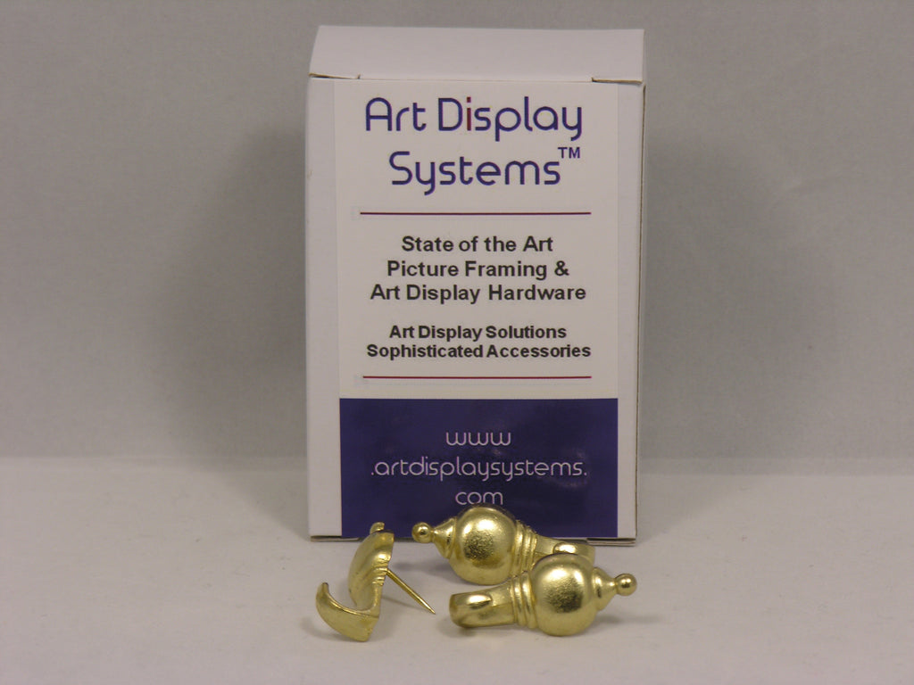 Brass Plated Colonial Push Pin Hangers - ART DISPLAY SYSTEMS