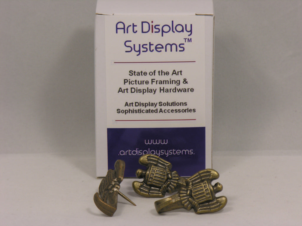 Antique Brass Plated Imperial Push Pin Hangers - ART DISPLAY SYSTEMS