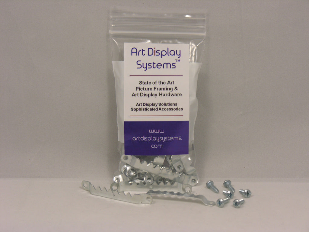 "Zinc Plated Large Sawtooth Hanger with #6-1/2"" Screws - ART DISPLAY SYSTEMS"