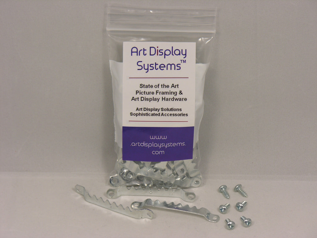 "Zinc Plated Large Sawtooth Hanger with #6-3/8"" Screws - ART DISPLAY SYSTEMS"