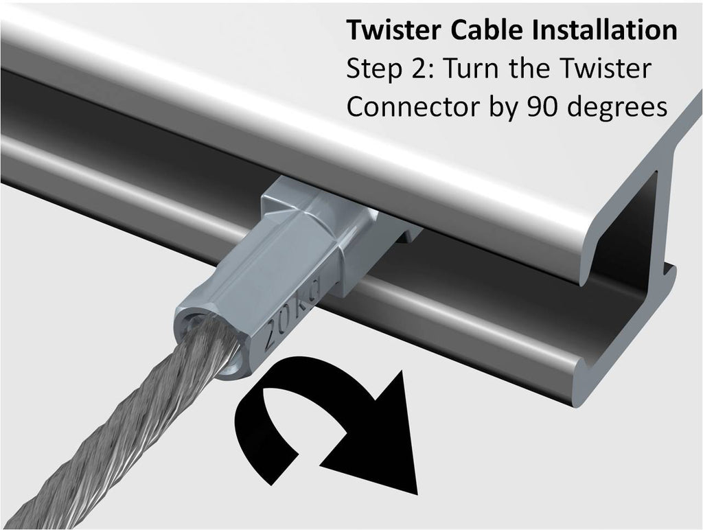 Starter Kit - White Click Rail with Twister Steel Cables - ART DISPLAY SYSTEMS