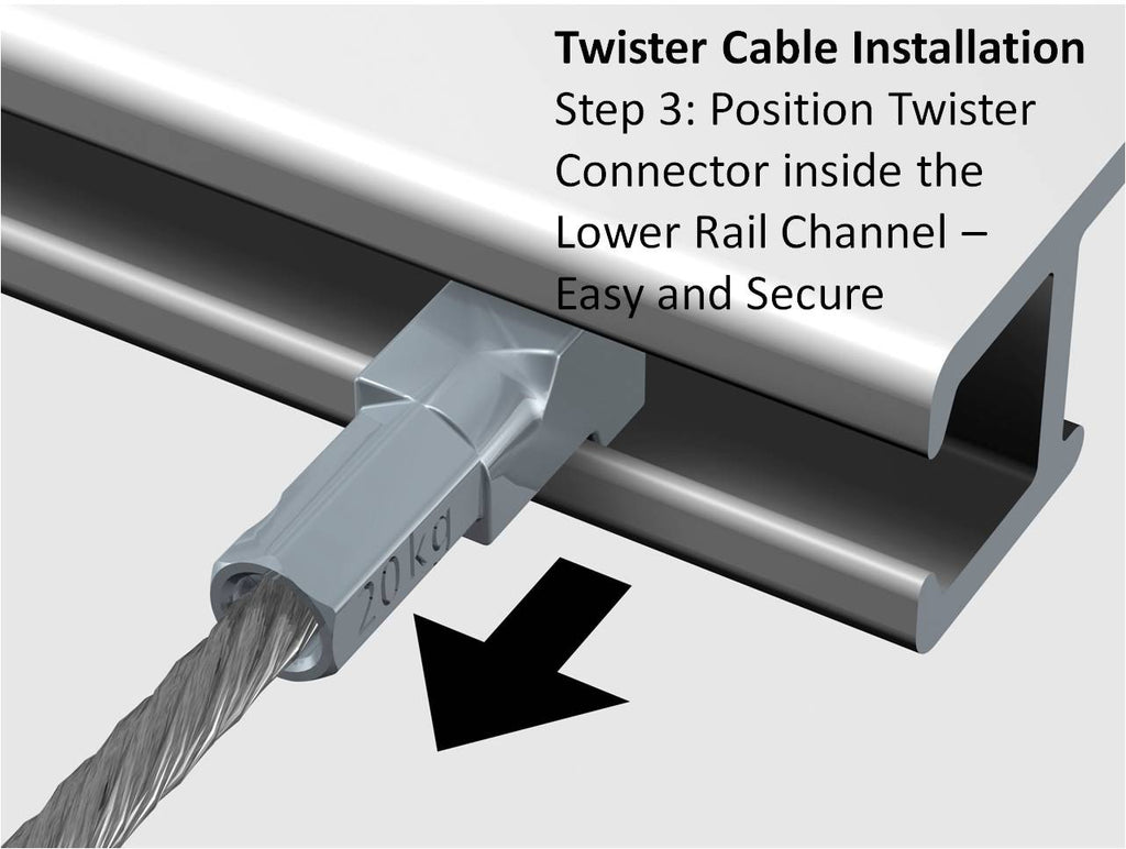 Starter Kit - Silver Click Rail with Twister Nylon Cables - ART DISPLAY SYSTEMS