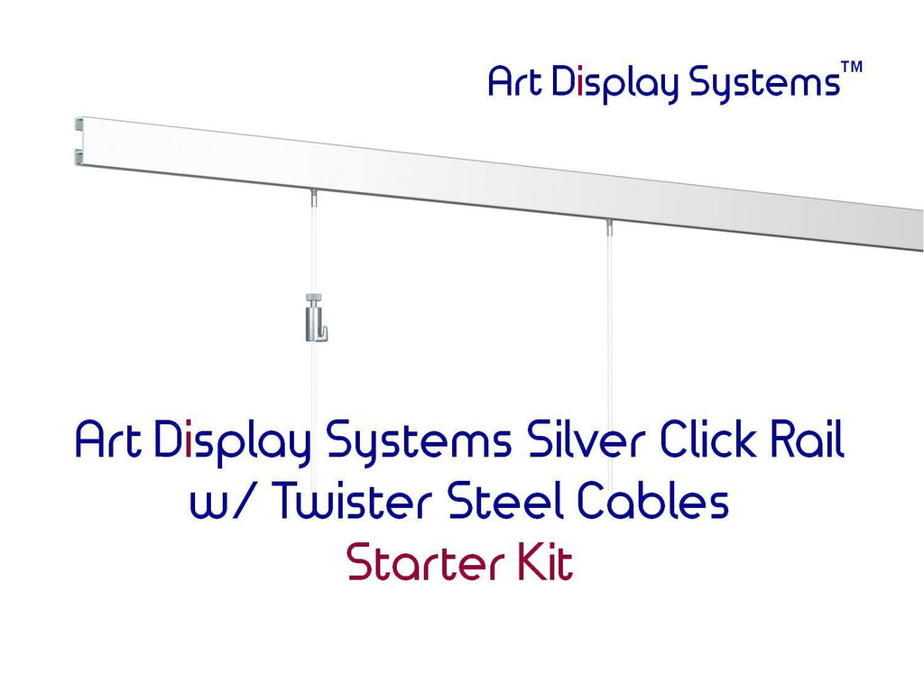 Art Display Systems Silver Click Rail w/ Twister Steel Cables Starter Kit - ART DISPLAY SYSTEMS