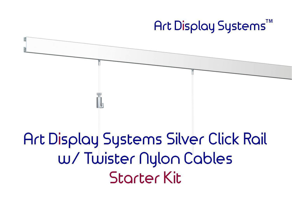 Art Display Systems Silver Click Rail w/ Twister Nylon Cables Starter Kit - ART DISPLAY SYSTEMS