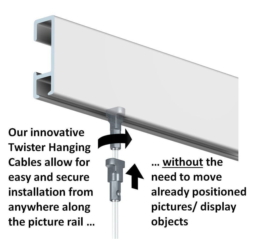 Art Display Systems White Click Rail w/ Twister Nylon Cables Starter Kit - ART DISPLAY SYSTEMS