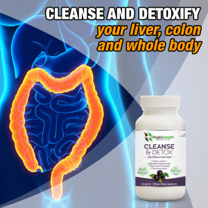 Cleanse & Detox Dietary Supplement 60 Capsules, Natural Formula With Antioxidants, Cleanse Colon & Liver, Ease Constipation & Improve Digestion, For Men & Women