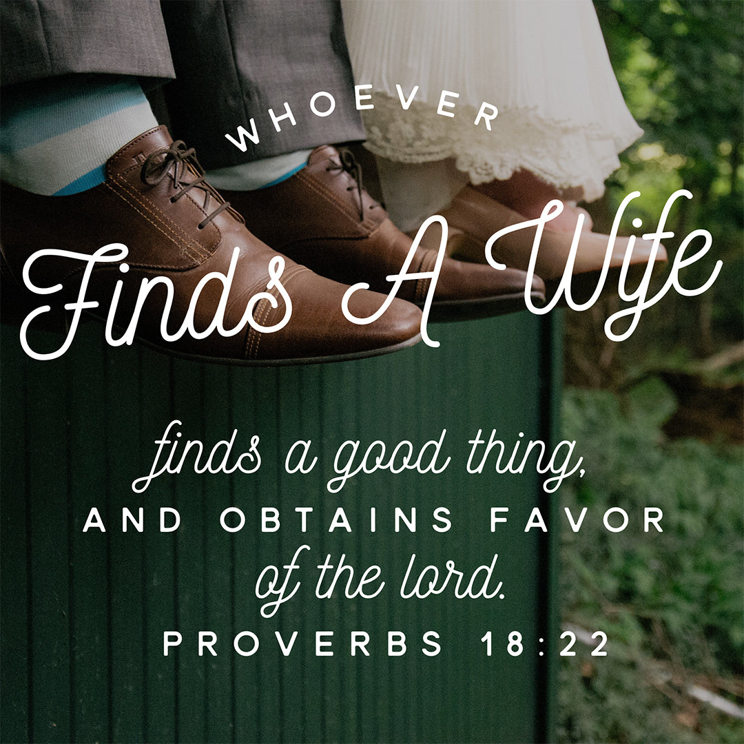 Proverbs 18:22 - Whoever Finds a Wife - Bible Verses To Go