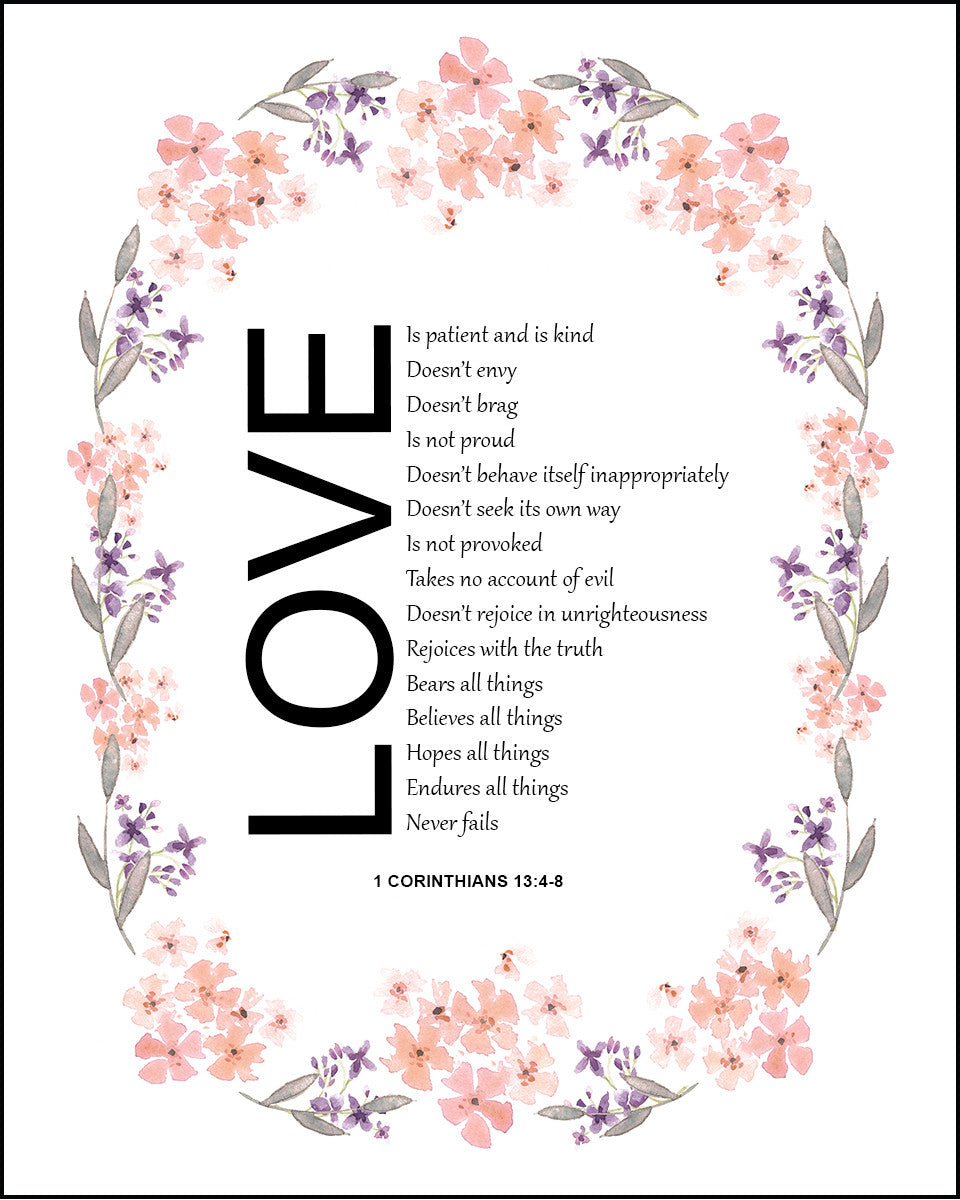 1 Corinthians 134 8 Love Is Patient Free Bible Verse Art