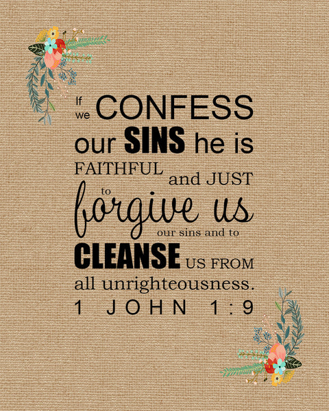 1 John 1 9 Quot Confession And Forgiveness Quot Inspirational Art