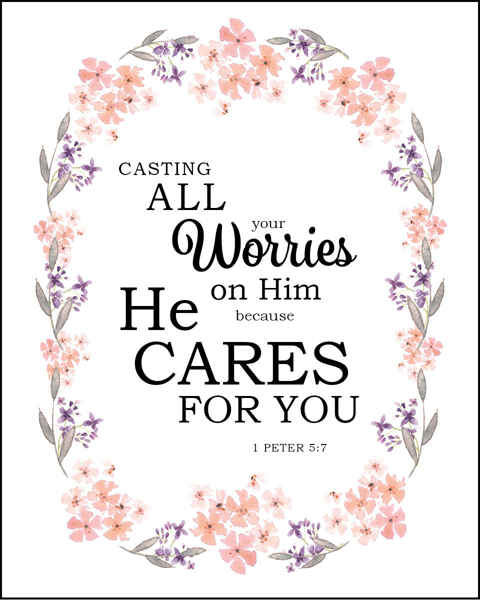 1 Peter 5:7 - Casting All Your Cares - Free Bible Verse Art
