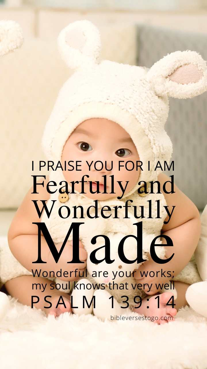 Christian Wallpaper - Baby Psalm 139:14