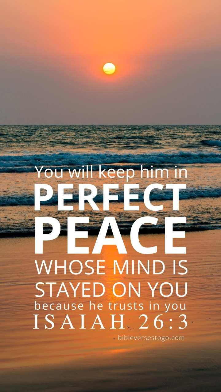 Christian Wallpaper - Beach Sunset Isaiah 26:3