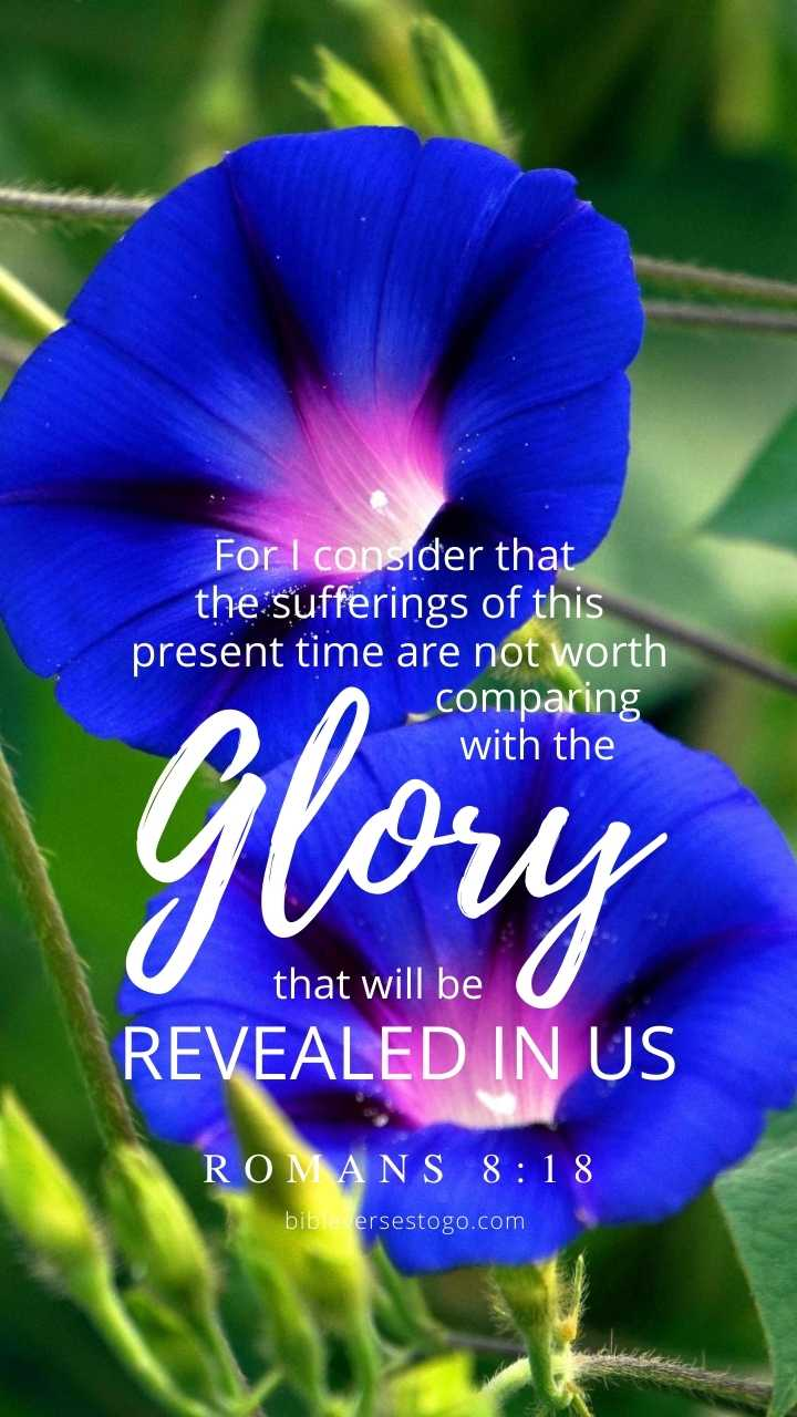 Christian Wallpaper - Blue Glory Romans 8:18