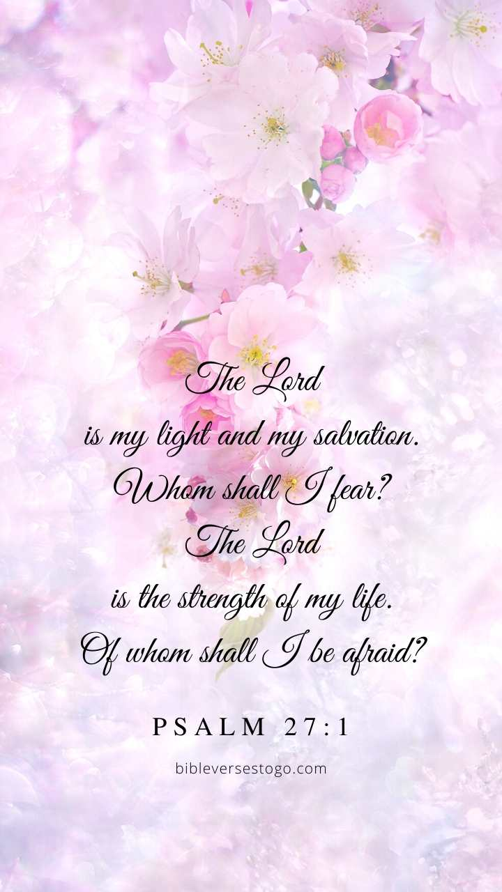 Christian Wallpaper - Cherry Blossom Psalm 27:1