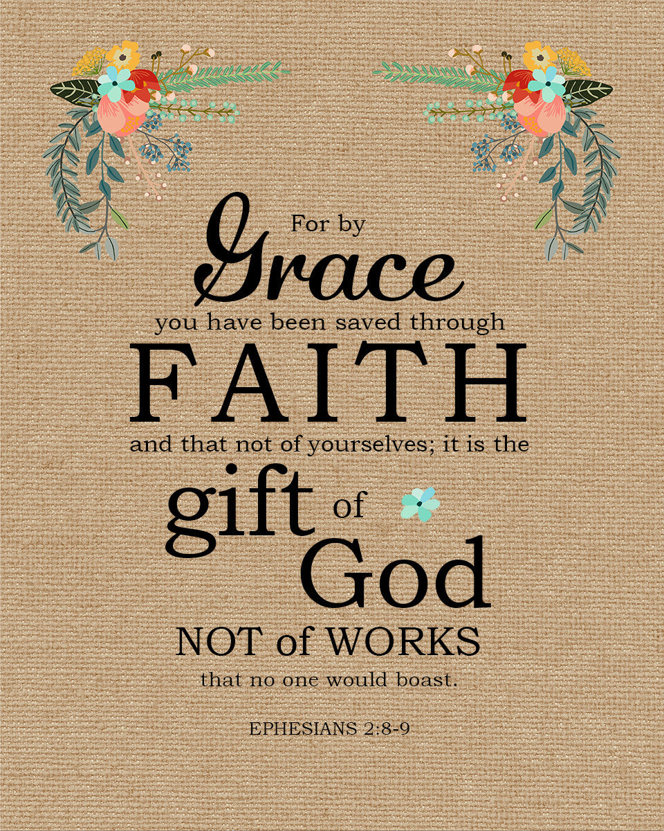 Ephesians 2 8 9 Saved Through Faith Free Bible Verse Art